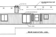 Home Plan - Ranch Exterior - Rear Elevation Plan #92-106