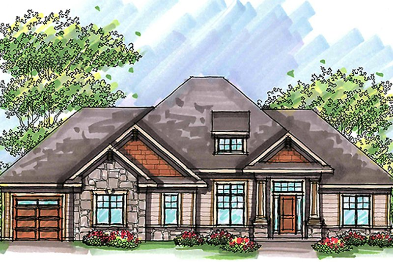 Craftsman Exterior - Front Elevation Plan #70-986