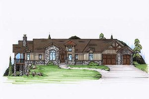 Ranch Exterior - Front Elevation Plan #5-282