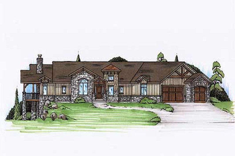 Ranch Style House Plan - 5 Beds 4.5 Baths 2378 Sq/Ft Plan #5-282 Exterior - Front Elevation