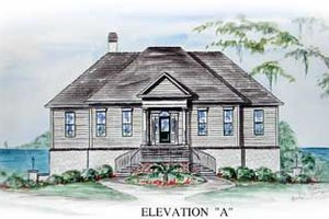 Southern Exterior - Front Elevation Plan #54-108