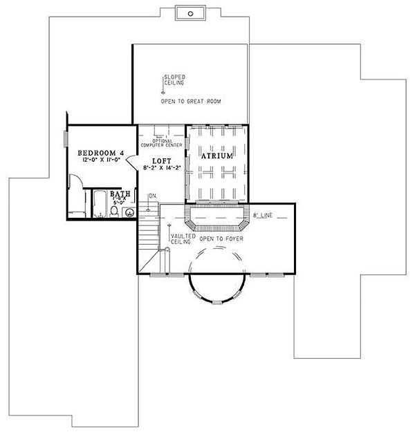 European Floor Plan - Upper Floor Plan Plan #17-208
