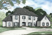 European Style House Plan - 4 Beds 4 Baths 5854 Sq/Ft Plan #17-2381 Exterior - Front Elevation