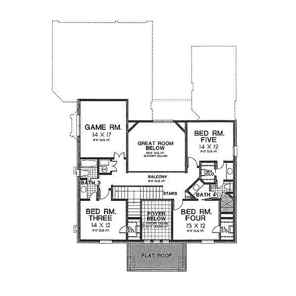 Architectural House Design - Colonial Floor Plan - Upper Floor Plan #310-704