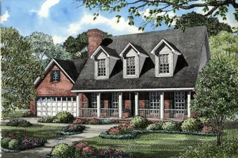 Colonial Style House Plan - 3 Beds 3.5 Baths 1783 Sq/Ft Plan #17-224 Exterior - Front Elevation
