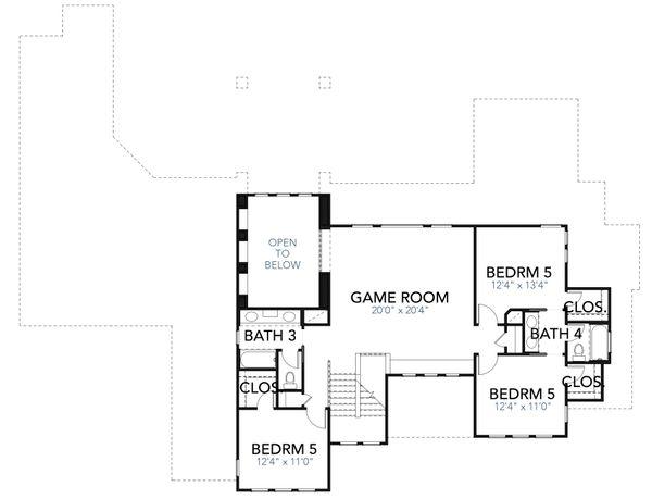 Mediterranean Floor Plan - Upper Floor Plan Plan #80-221