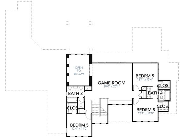 Mediterranean Floor Plan - Upper Floor Plan Plan #80-221