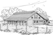 Country Style House Plan - 1 Beds 1 Baths 667 Sq/Ft Plan #124-798 Exterior - Other Elevation
