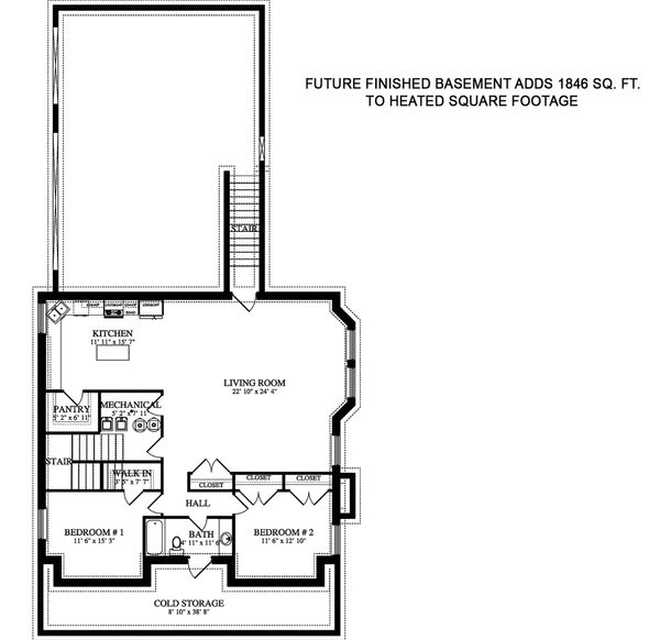 Farmhouse Floor Plan - Lower Floor Plan Plan #1060-44