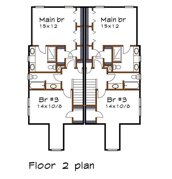 Craftsman Floor Plan - Upper Floor Plan Plan #79-249