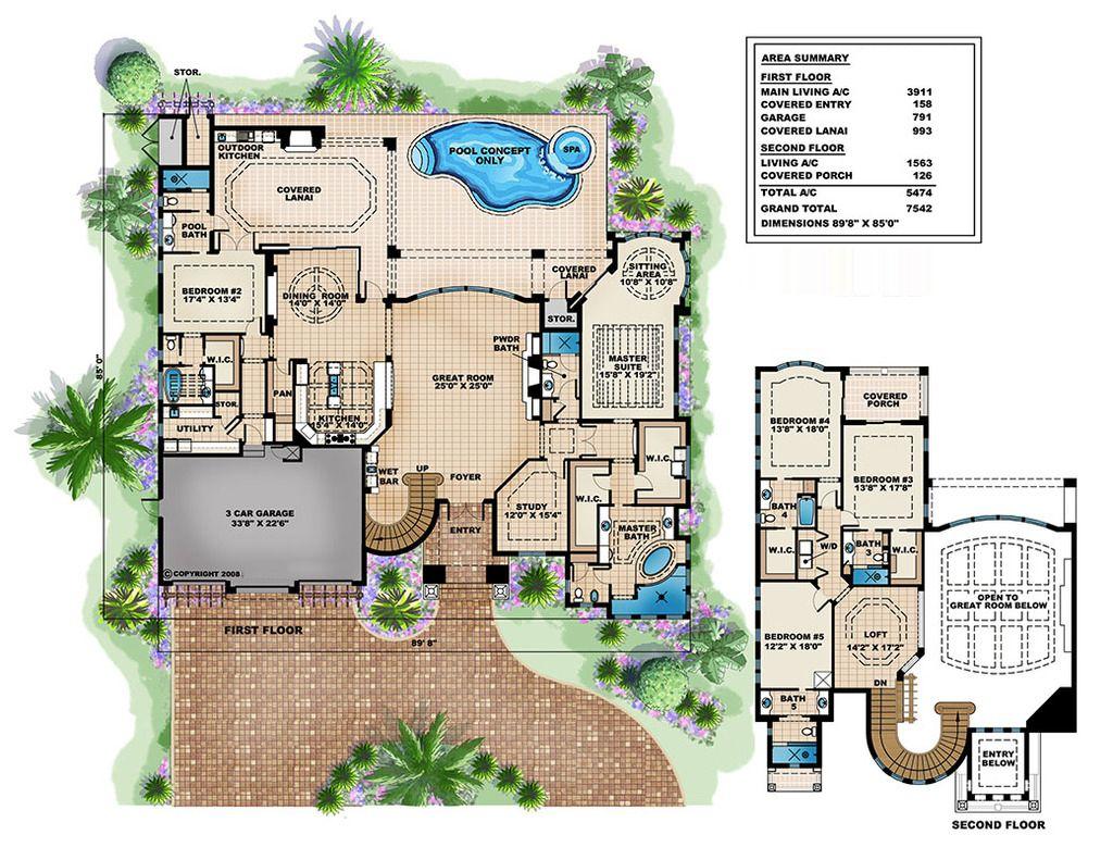 Mediterranean Style House Plan 5 Beds 7 Baths 5474 Sq Ft Plan 27 503 Houseplans Com
