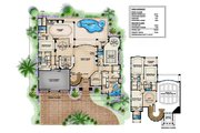 Mediterranean Style House Plan - 5 Beds 7 Baths 5474 Sq/Ft Plan #27-503 Floor Plan - Main Floor