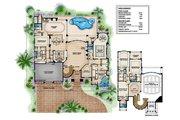 Mediterranean Style House Plan - 5 Beds 7 Baths 5474 Sq/Ft Plan #27-503 Floor Plan - Main Floor Plan