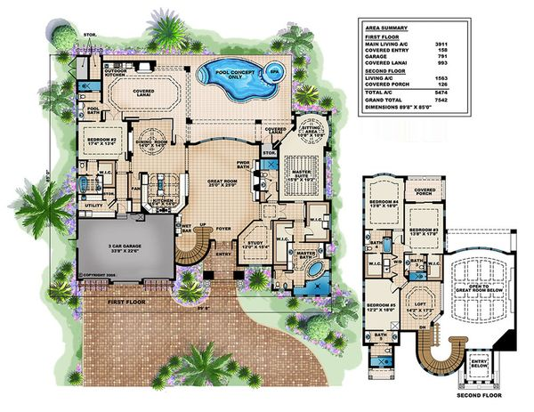 Mediterranean Floor Plan - Main Floor Plan #27-503