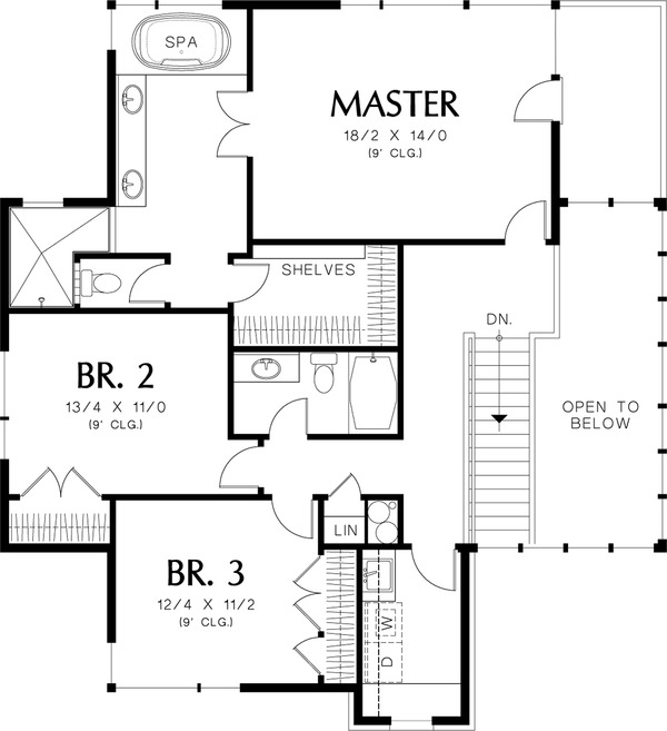 Upper Level Floor Plan - 3600 square foot Prairie home