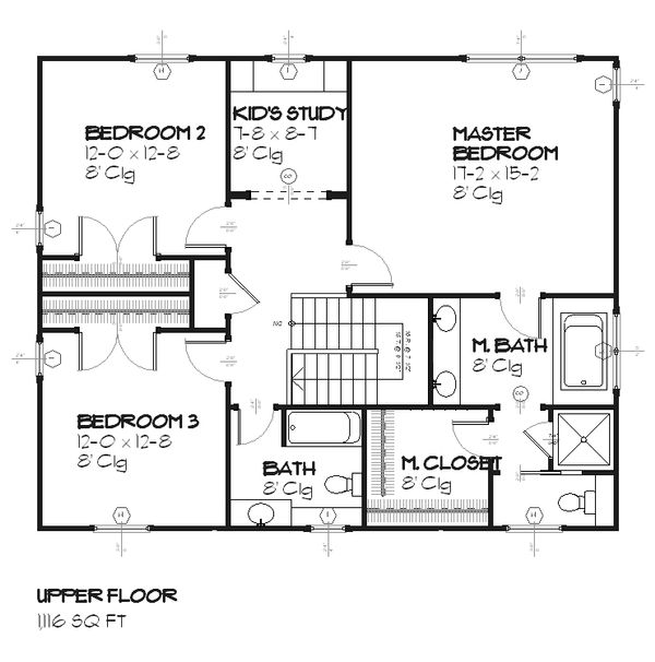 Colonial Floor Plan - Upper Floor Plan Plan #901-22