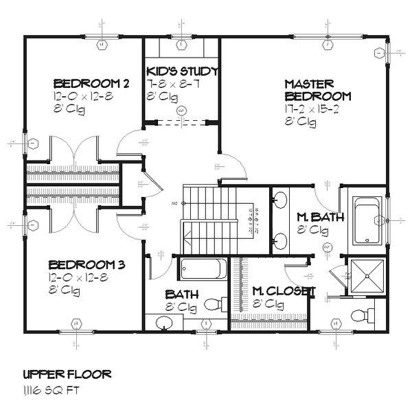 Colonial Floor Plan - Upper Floor Plan Plan #901-22
