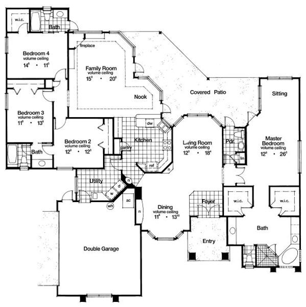 Ranch Floor Plan - Main Floor Plan Plan #417-299
