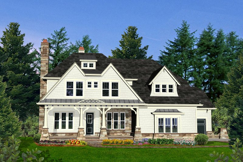 Farmhouse Style House Plan - 5 Beds 4 Baths 3905 Sq/Ft Plan #54-407 Exterior - Front Elevation