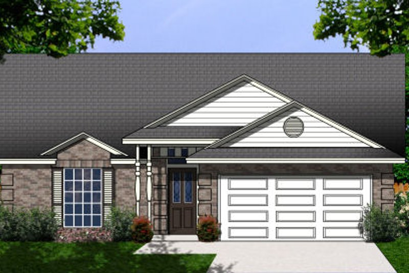Traditional Style House Plan - 3 Beds 2 Baths 1366 Sq/Ft Plan #62-101 Exterior - Front Elevation