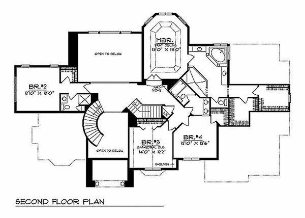 European Floor Plan - Upper Floor Plan Plan #70-535