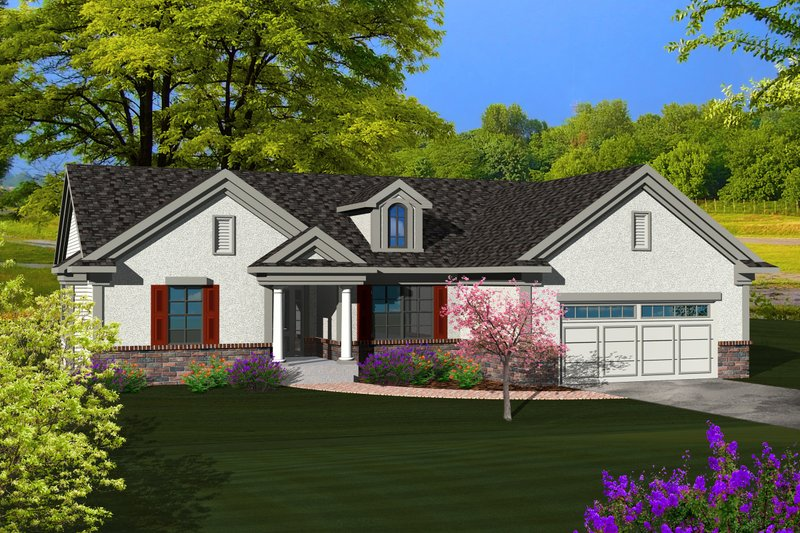 Ranch Exterior - Front Elevation Plan #70-1115