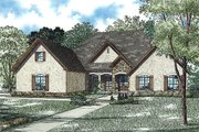 European Style House Plan - 4 Beds 3.5 Baths 3456 Sq/Ft Plan #17-2429 Exterior - Front Elevation