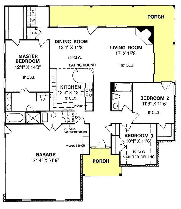 Home Plan Design - Traditional Floor Plan - Main Floor Plan #20-118