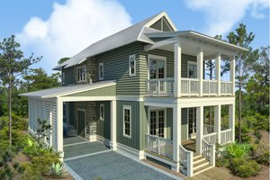 Beach Exterior - Front Elevation Plan #443-17