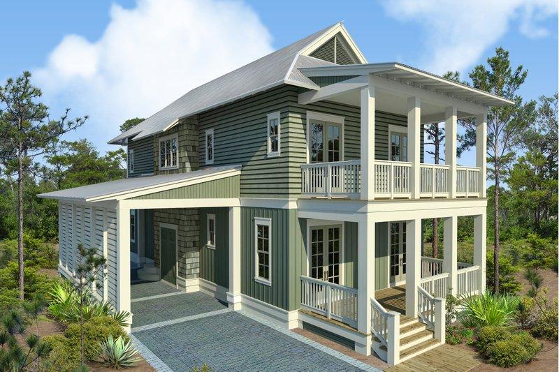 Beach Style House Plan - 4 Beds 4.5 Baths 2493 Sq/Ft Plan #443-17