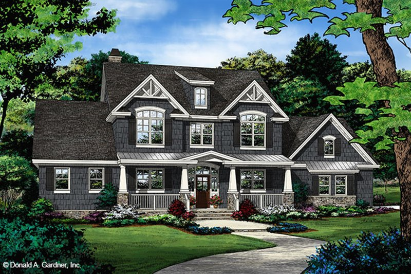 Craftsman Style House Plan - 4 Beds 3.5 Baths 3102 Sq/Ft Plan #929-60 Exterior - Front Elevation