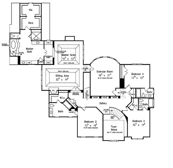 Country Style House Plan - 5 Beds 5.5 Baths 5466 Sq/Ft Plan #927-37 Floor Plan - Upper Floor Plan