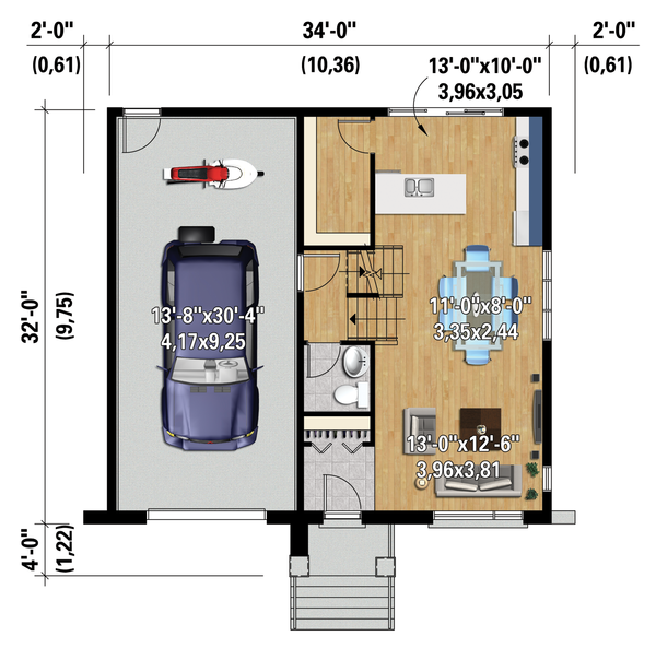 Contemporary Floor Plan - Main Floor Plan Plan #25-4283