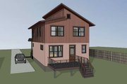 Modern Style House Plan - 3 Beds 2.5 Baths 1487 Sq/Ft Plan #79-293 Exterior - Rear Elevation