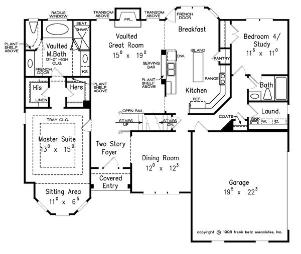 Traditional Floor Plan - Main Floor Plan Plan #927-10