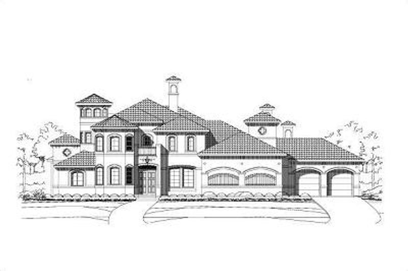 European Style House Plan - 4 Beds 3.5 Baths 4773 Sq/Ft Plan #411-288 Exterior - Front Elevation