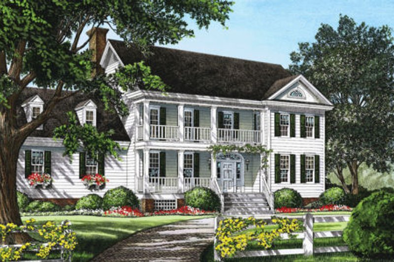 Southern Exterior - Front Elevation Plan #137-203 - Houseplans.com