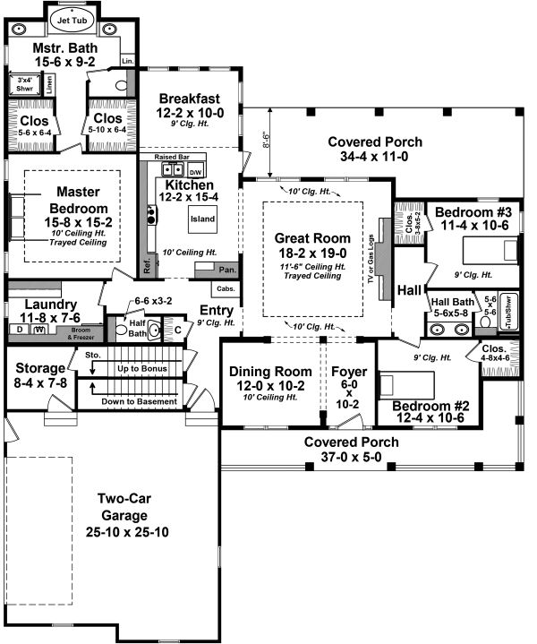 Architectural House Design - Ranch Floor Plan - Main Floor Plan #21-453