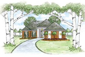 European Exterior - Front Elevation Plan #36-129