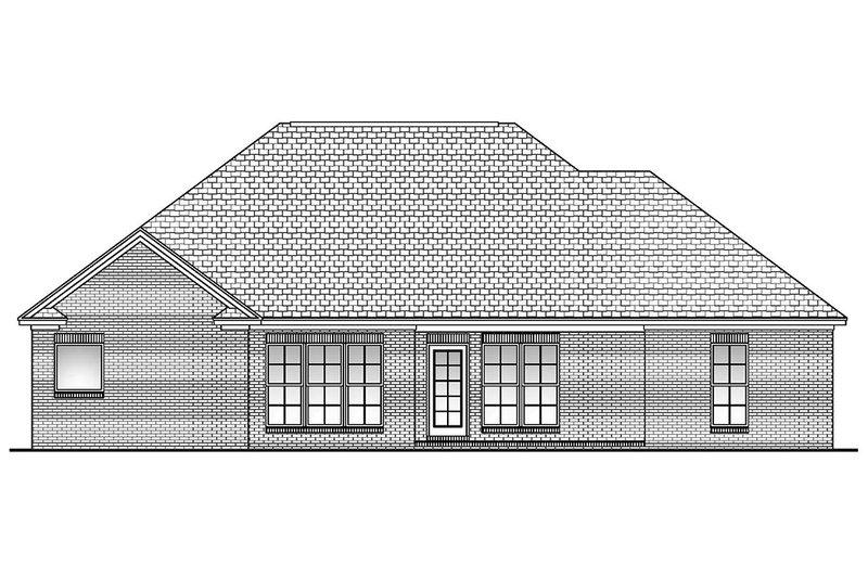 Traditional Exterior - Rear Elevation Plan #430-60 - Houseplans.com