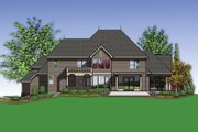 European Style House Plan - 4 Beds 3.5 Baths 4888 Sq/Ft Plan #48-620 Exterior - Rear Elevation