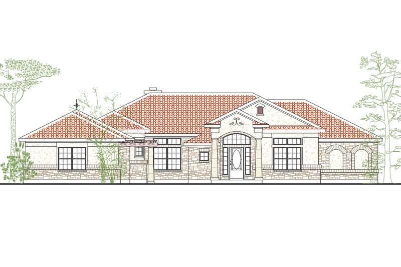 House Plan Design - Mediterranean Exterior - Front Elevation Plan #80-164