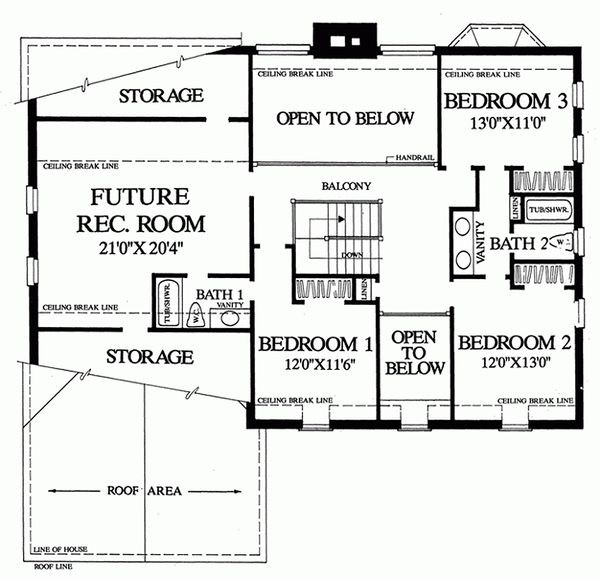 Upper Level Floor Plan- 2800 square foot Colonial home