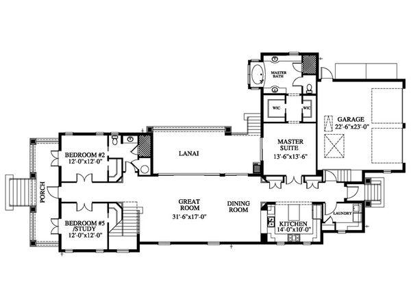 Beach Style House Plan - 4 Beds 3 Baths 2735 Sq/Ft Plan #426-21 Floor Plan - Main Floor Plan