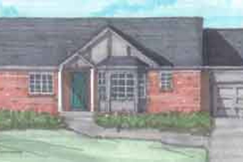 Ranch Style House Plan - 3 Beds 1.5 Baths 1466 Sq/Ft Plan #136-116 Exterior - Front Elevation
