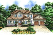 Mediterranean Style House Plan - 4 Beds 4.5 Baths 6705 Sq/Ft Plan #27-526 Exterior - Front Elevation