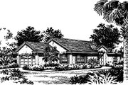 Mediterranean Style House Plan - 3 Beds 2 Baths 1284 Sq/Ft Plan #417-111 Exterior - Front Elevation