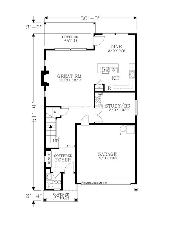Craftsman Floor Plan - Main Floor Plan Plan #53-626