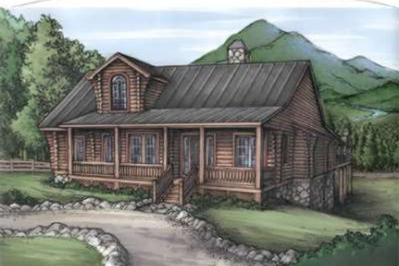 Log Exterior - Front Elevation Plan #115-161