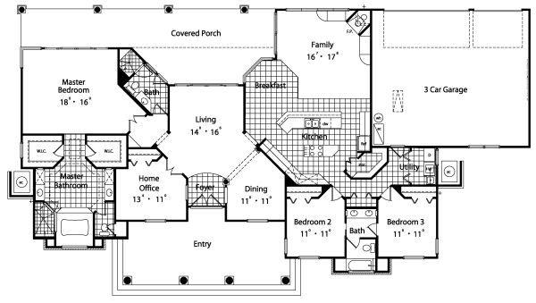 Colonial Floor Plan - Main Floor Plan Plan #417-301